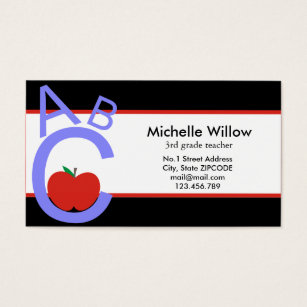 English teacher business cards templates zazzle abc apple school teacher business card reheart Images