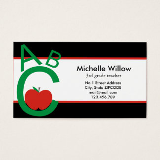 ABC Apple School Teacher Business Card