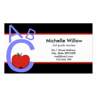 ABC Apple School Teacher Business Card Templates
