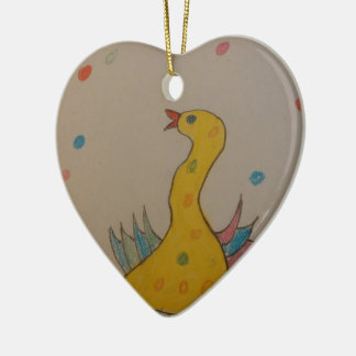 #ABC Art by Children, Easter Duck Double-Sided Heart Ceramic Christmas Ornament