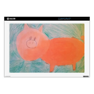 "#ABC Art by Children, Pink Orange Pig Decal For 17"" Laptop"