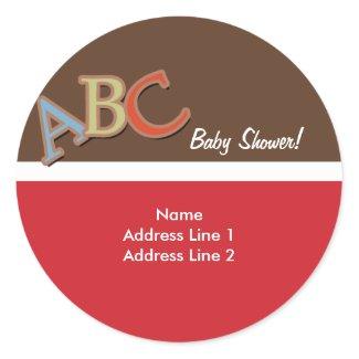 ABC Baby Shower Address Label / Envelope Seals sticker