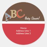 ABC Baby Shower Address Label / Envelope Seals Round Stickers