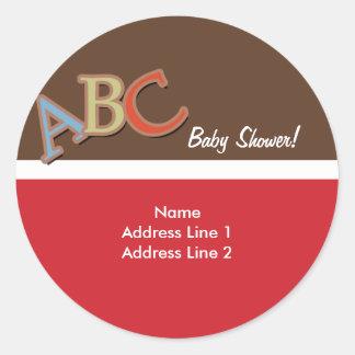ABC Baby Shower Address Label Envelope Seals Round Stickers