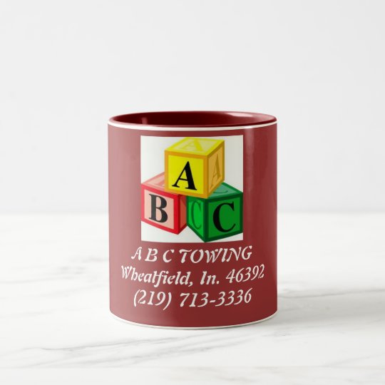 abc-blocks, A B C TOWINGWheatfield, In. 46392(2... Two-Tone Coffee Mug