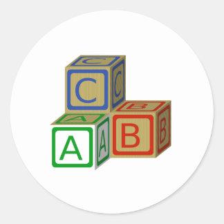 ABC Blocks Classic Round Sticker