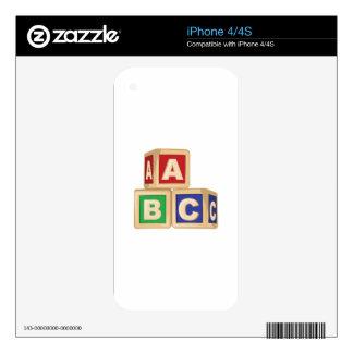 ABC Blocks iPhone 4S Skins