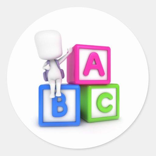 ABC Blocks Kid Classic Round Sticker