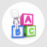 ABC Blocks Kid Round Sticker