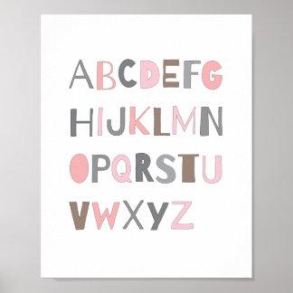 ABC Colorful Alphabet Nursery Art Decor | Girl