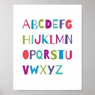 ABC Colorful Alphabet Nursery Art Wall Decor Print