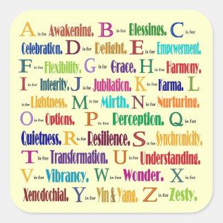ABC de positivos Pegatinas Cuadradas Personalizadas