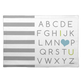 ABC I love you. green and light blue Placemat