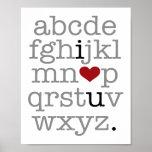 abc i♥u. print