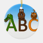 ABC letters cute cartoon animals illustration Christmas Tree Ornament