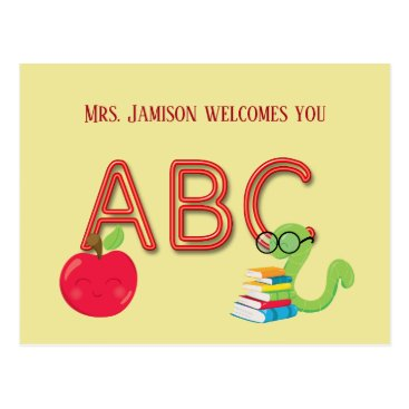Beach Themed ABC Neon Letters Bookworm Postcard