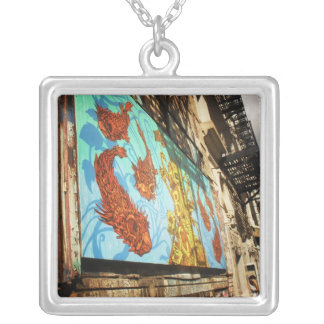 ABC No Rio, Lower East Side, New York City Square Pendant Necklace