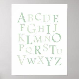 ABC Nursery Green Typography Print
