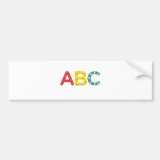 ABC por PaddleDuck Pegatina De Parachoque