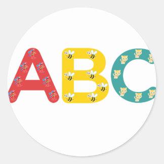 ABC por PaddleDuck Pegatina Redonda