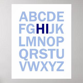 ABC s Alphabet poster that says HI