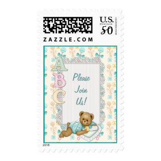 ABC Teddy Bear Baby - Peach Aqua Customize Text Postage