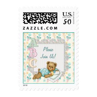 ABC Teddy Bear Baby - Peach - Customize Text Postage