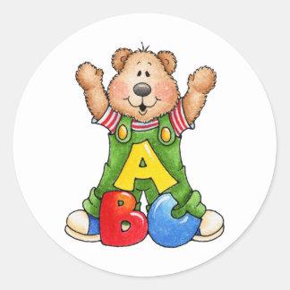 ABC Teddy Bear Classic Round Sticker