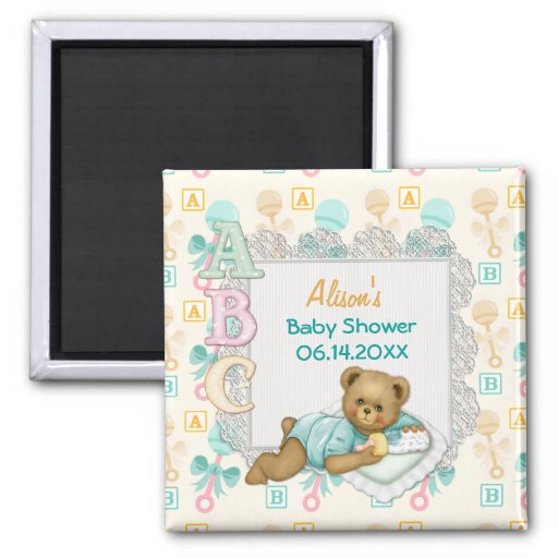 ABC Teddy Peach and Aqua Baby Shower 2 Inch Square Magnet
