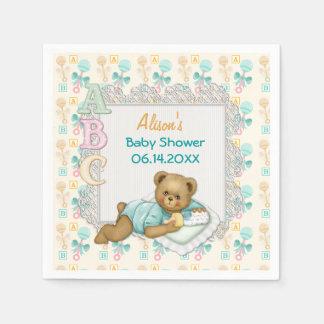 ABC Teddy Peach and Aqua Baby Shower Paper Napkins