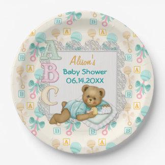 ABC Teddy Peach and Aqua Baby Shower Paper Plates