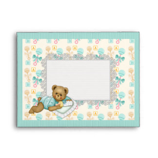 ABC Teddy Peach and Aqua Envelope