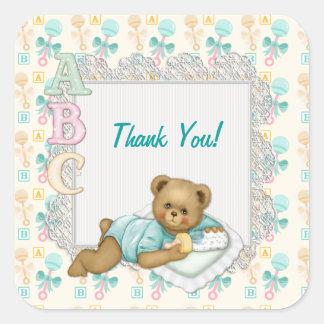 ABC Teddy Peach and Aqua - Thank You Square Sticker