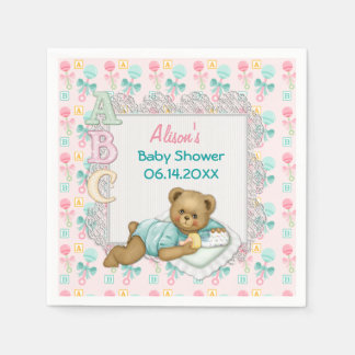 ABC Teddy Pink and Aqua Baby Shower Paper Napkins