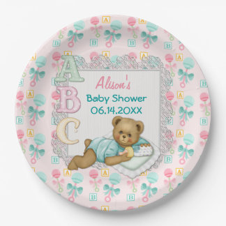 abc teddy pink and aqua baby shower paper plates