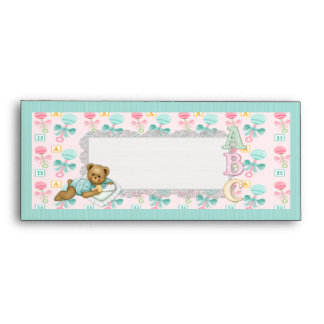 ABC Teddy Pink and Aqua Envelope