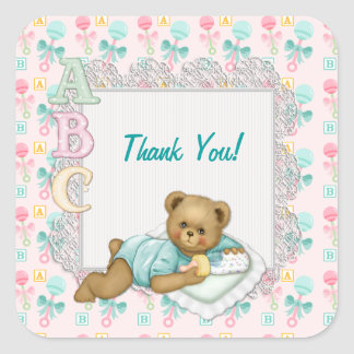 ABC Teddy Pink and Aqua - Thank You Square Stickers