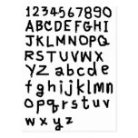 ABC  text  and number Postcards