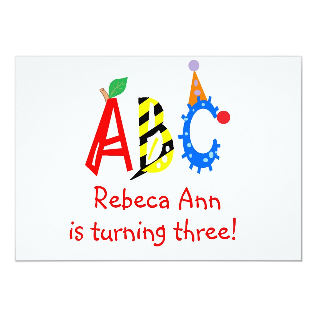 ABC Turning 3 Third Birthday Party Invitaitons Card