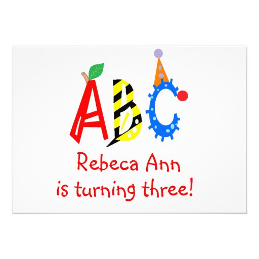 ABC Turning 3 Third Birthday Party Invitaitons Personalized Invitation