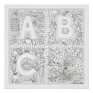 ABC Wizard Giant Color In Poster