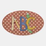 ABC Worm, regla, pegatinas de la diversión de la Calcomanías Ovales