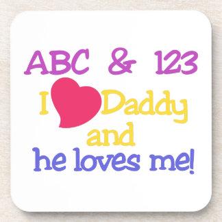 ¡ABC y el papá y él del amor de 123 I me ama! Posavasos