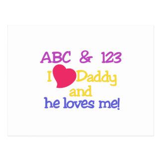 ¡ABC y el papá y él del amor de 123 I me ama! Tarjetas Postales