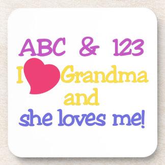 ¡ABC y la abuela y ella de 123 I me ama! Posavasos