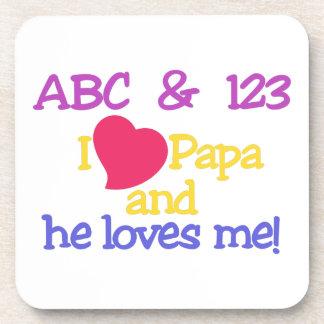 ¡ABC y la papá y él de 123 I me ama! Posavasos De Bebida