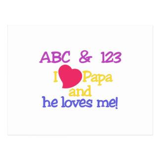 ¡ABC y la papá y él de 123 I me ama! Tarjetas Postales