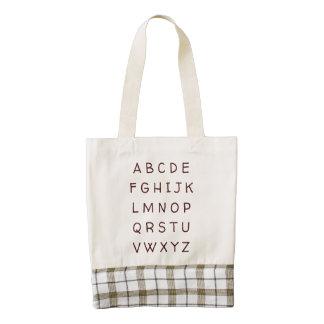 ABC Zazzle Heart Tote Bag Brown