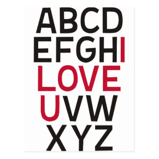 ABCD I Love U Postcard