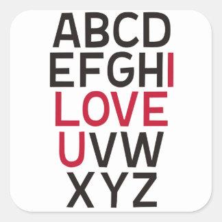 ABCD I Love U Square Sticker